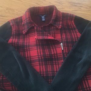 Women's XL plaid sweater with full zip Chaps